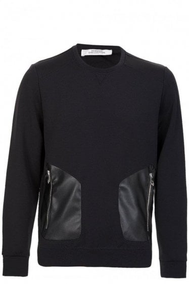 Versace Neoprene Contrast Pocket Sweatshirt Black