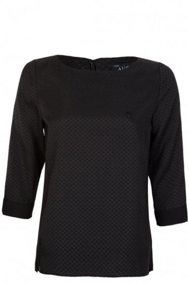Armani Jeans Womens Applique Blouse Black