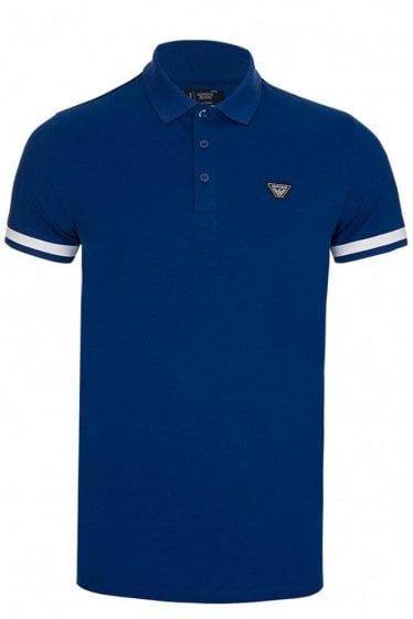 Armani Jeans Badge Logo Polo Blue
