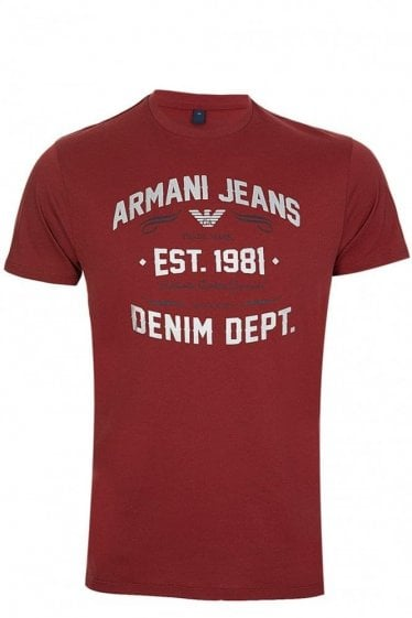 Armani Men's Metallic Denim Dept Logo T-shirt