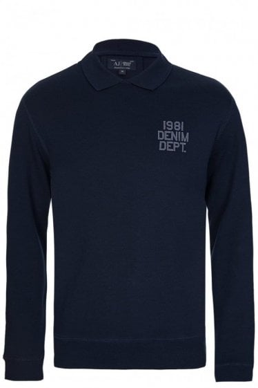 Armani Jeans Chest Logo Polo Sweatshirt Navy