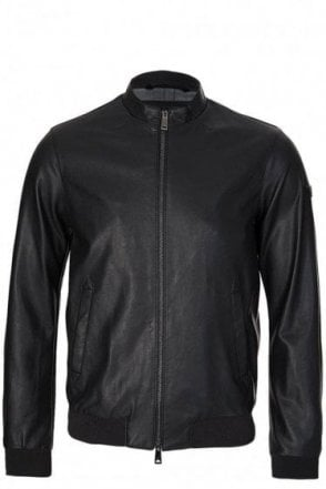 Armani Jeans Leather Look Jacket Black