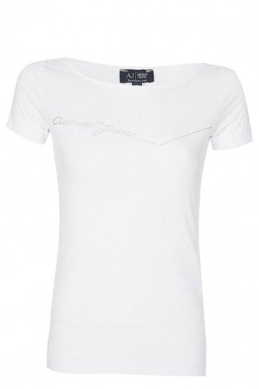 Armani Jeans Womens Diamante Tshirt White