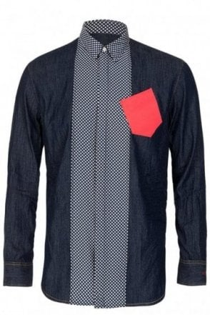 Dsquared Relaxed Dan Polka Denim Shirt