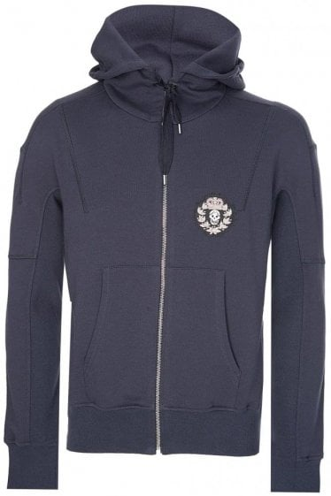 Alexander McQueen Badge Logo Hooded Top Navy