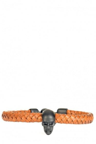Alexander McQueen Skull Leather Bracelet Tan