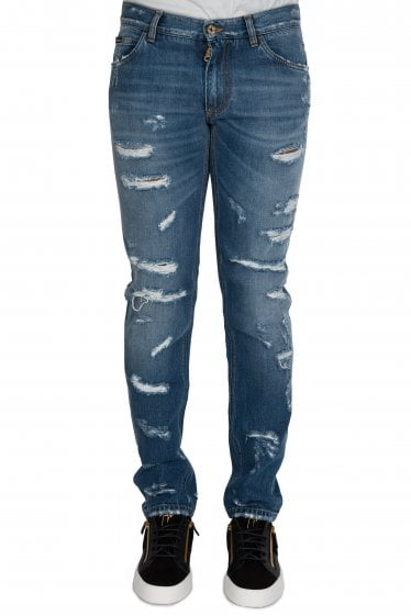 All Over Rips Jeans Blue