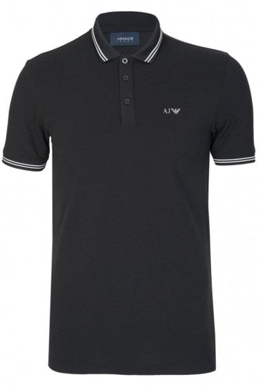 Armani Chest Logo Contrast Trim Polo Black