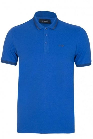 Armani Chest Logo Contrast Trim Polo Blue
