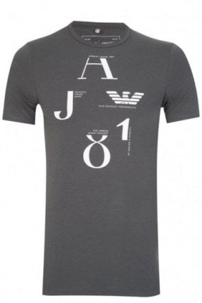 Armani Chest Print Logo T-Shirt Charcoal