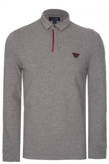 Armani Contrast Trim Long Sleeved Polo Grey