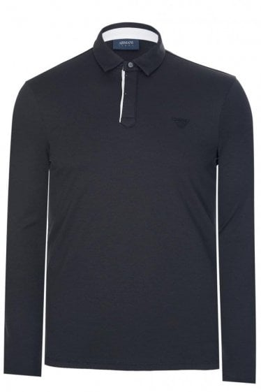 Armani Contrasting Placket Polo Black