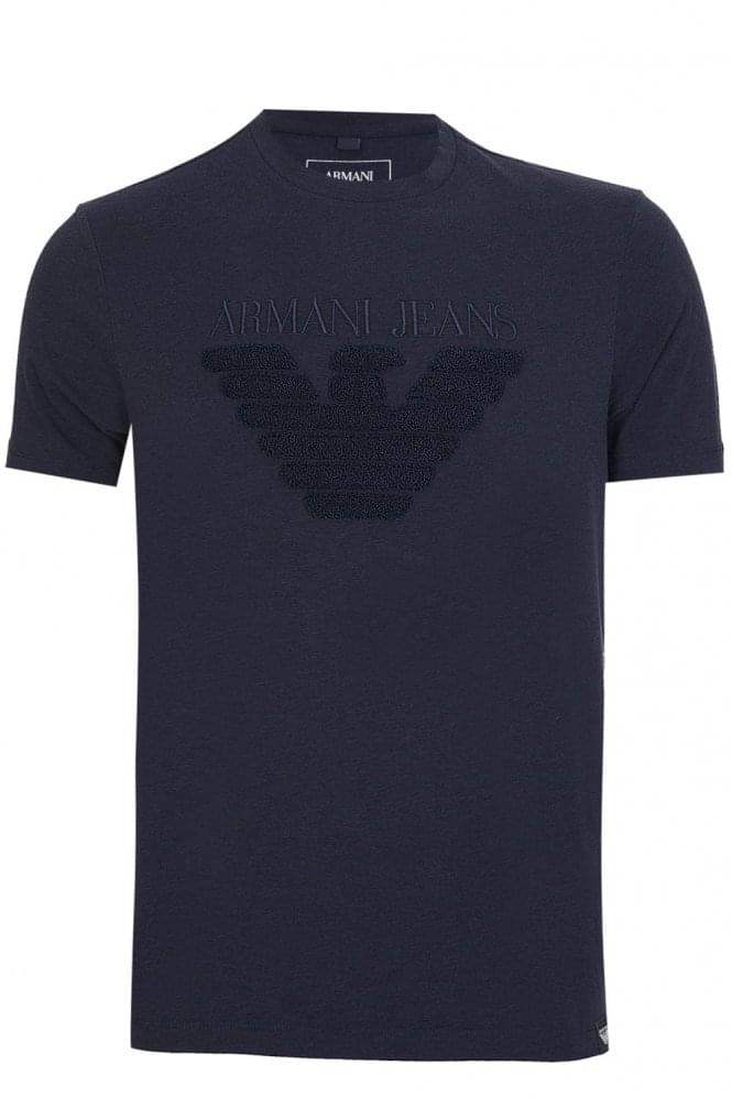 ARMANI Embossed Cotton Crew Neck T-shirt