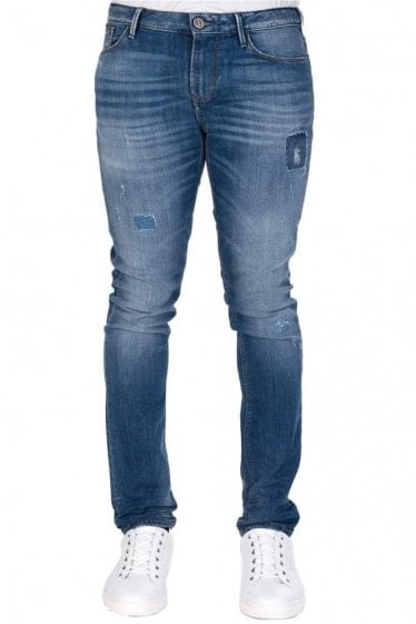 Armani J06 Patched Slim Fit Denim Jeans Blue