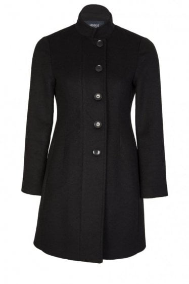 Armani Jeans 3/4 Wool Coat Black