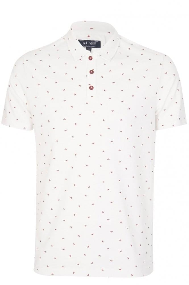 ARMANI Jeans All Over Logo Polo White