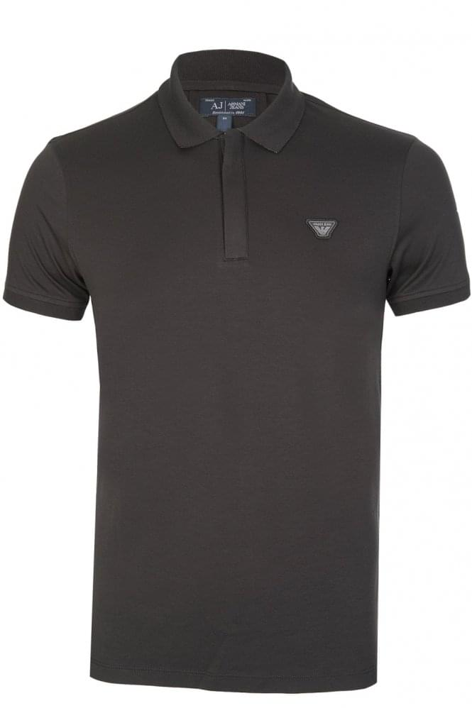 ARMANI Jeans Badge Logo Polo Black