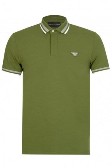 Armani Jeans Badge Logo Polo Khaki