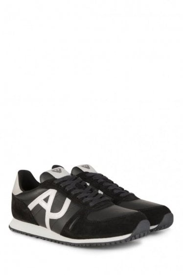 Armani Jeans Black Suede Panelled Trainers