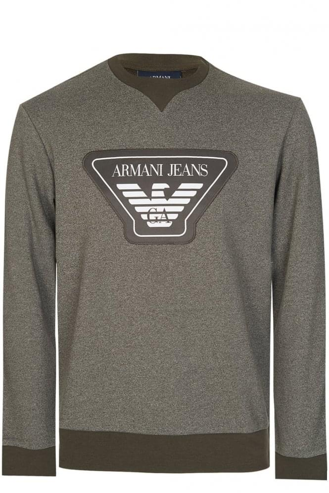 Armani Jeans Chest Badge Sweatshirt Khaki