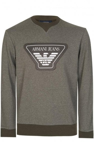 Armani Jeans Chest Badge Sweatshirt Khaki