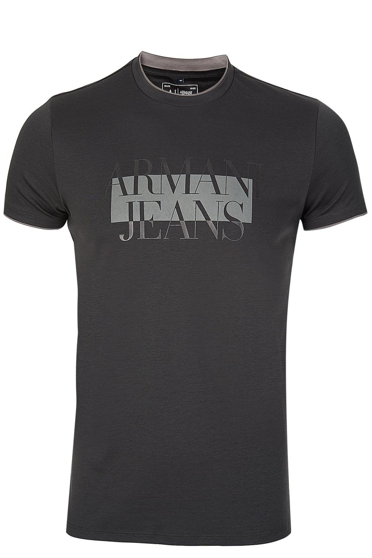 Armani Jeans Chest Print Tshirt Charcoal f571f5b03929d