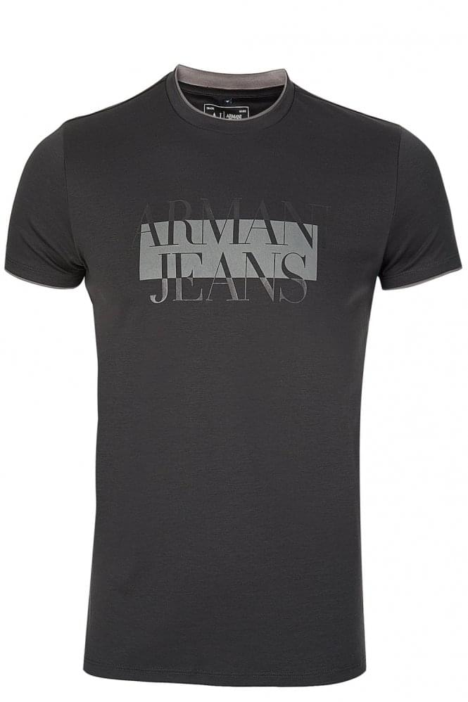 ARMANI Jeans Chest Print Tshirt Charcoal