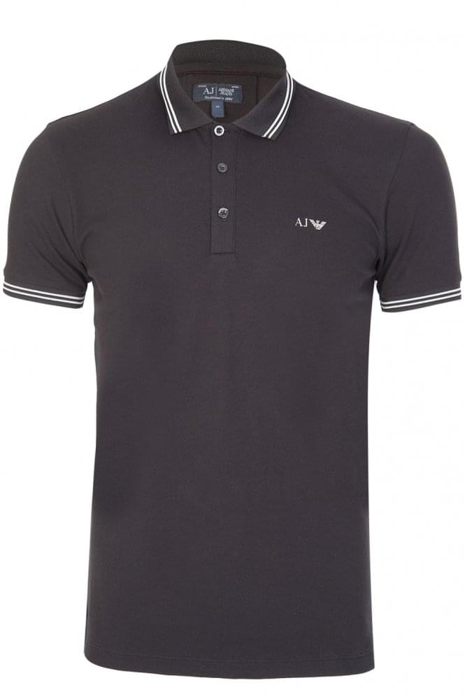 ARMANI Jeans Collar Mesh Polo Black