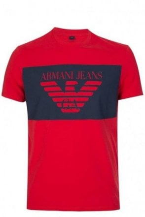 Armani Jeans Colour Block Logo T-Shirt Red