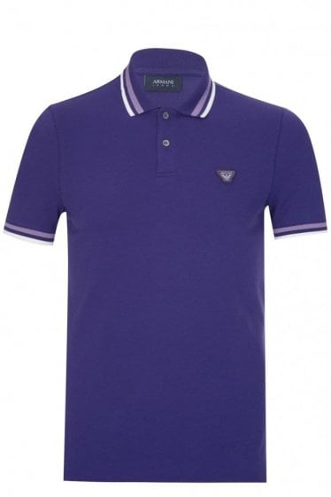 Armani Jeans Contrast Trimmed Polo Purple