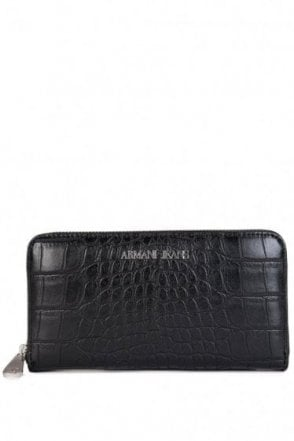 Armani Jeans Crock Skin Purse Black