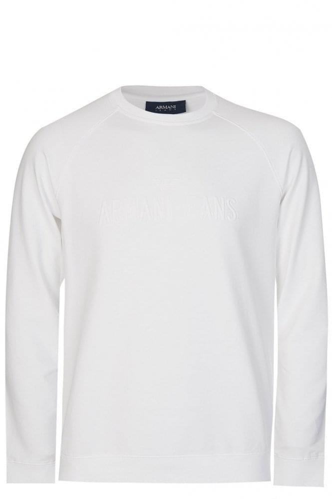 Armani Jeans Embossed Logo Sweatshirt White