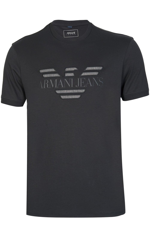 Armani jeans embossed logo t shirt black for Black armani t shirt