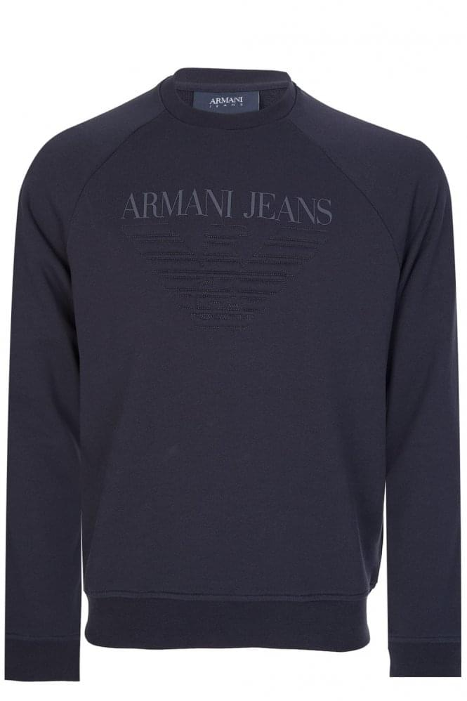 Armani Jeans Felpa Eagle Logo Sweatshirt Navy