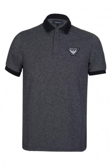Armani Jeans Logo Badge Short Sleeved Polo Navy