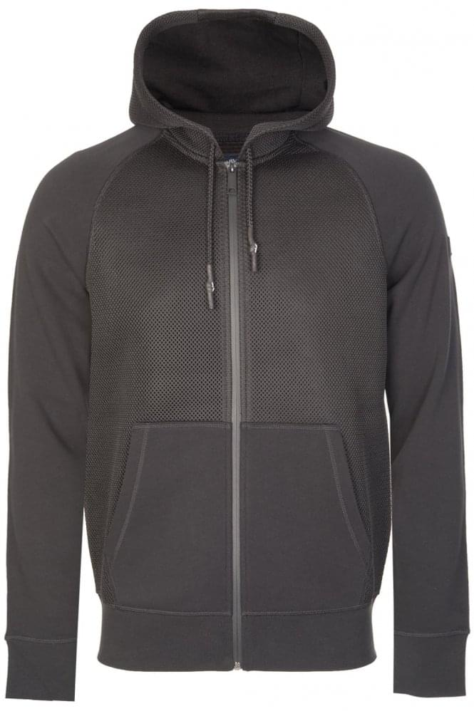 ARMANI Jeans Mesh Front Hooded Top Black