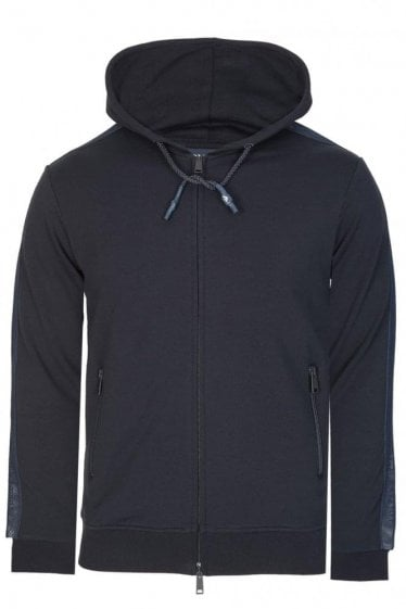 Armani Jeans Mesh Panel Navy Zip Up Sweatshirt