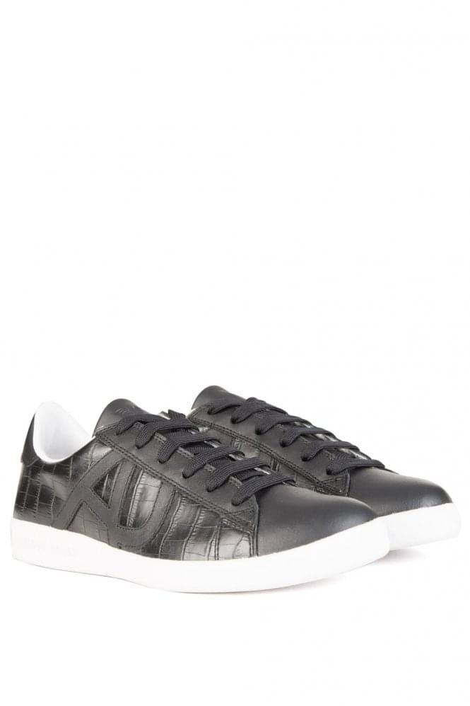 Armani Jeans Mock Croc Sneakers Black