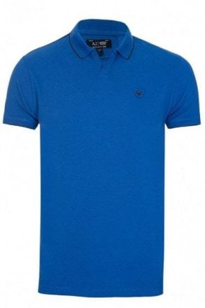 Armani Jeans Open Collar Polo Blue