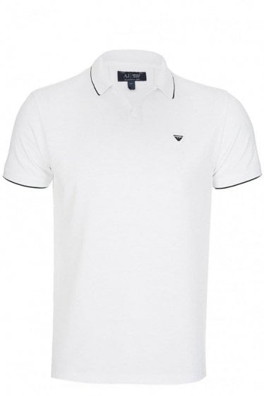 Armani Jeans Open Collar Polo White