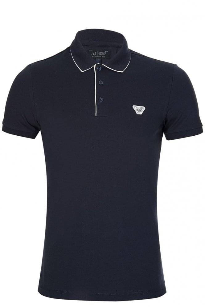 ARMANI Jeans Stretch Cotton Polo Navy