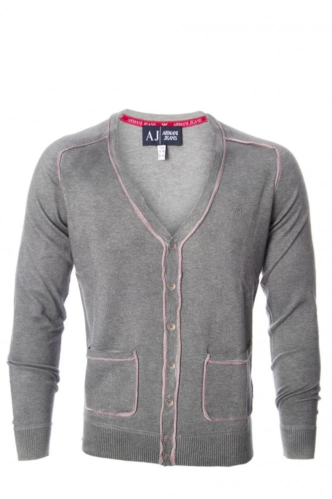 ARMANI Jeans Washed Trim Grey Cardigan