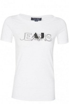 Armani Jeans Womens Chest Logo T-Shirt White