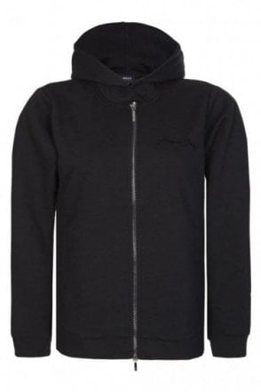 Armani Jeans Women's Chest Logo Zip Hoodie Black