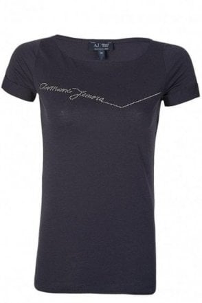 Armani Jeans Womens Diamante Tshirt Navy