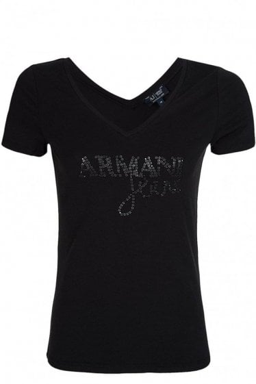 Armani Jeans Women's Embellished T-Shirt Black