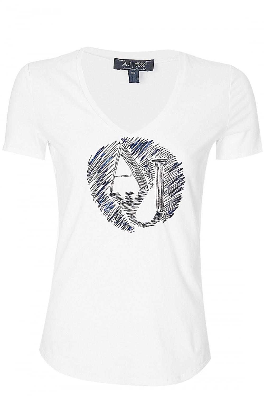 28de2a2a7297 ARMANI Armani Jeans Women s Embellished T-Shirt White - Clothing ...