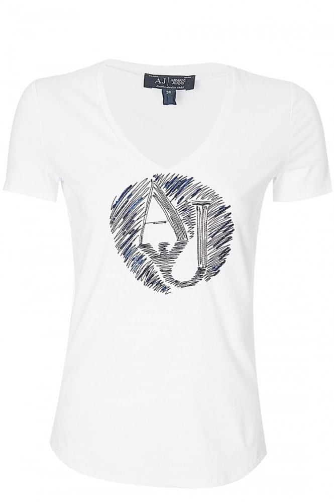 ARMANI Jeans Women's Embellished T-Shirt White