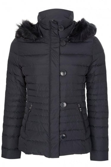 Armani Jeans Womens Hooded Down Jacket Navy