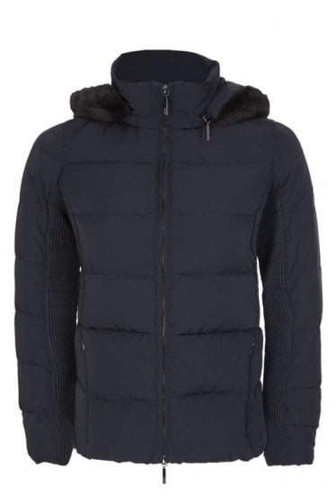 Armani Jeans Women's Hooded Down Jacket Navy
